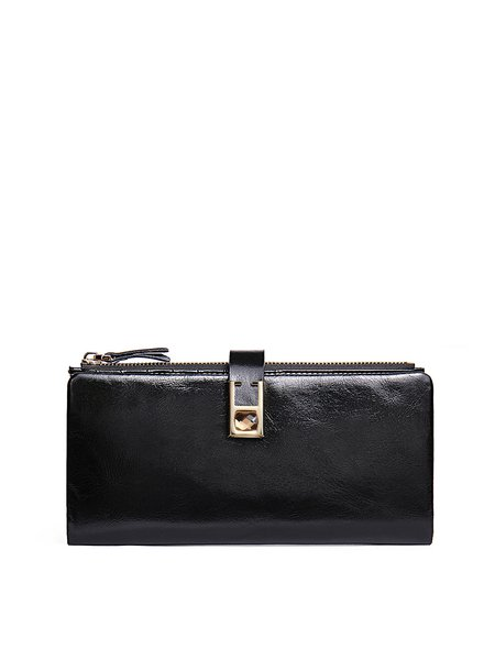 Black Mini Simple Cowhide Leather Wallet