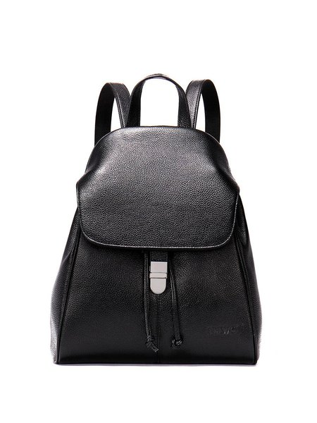 Black Cowhide Leather Push Lock Casual Backpack