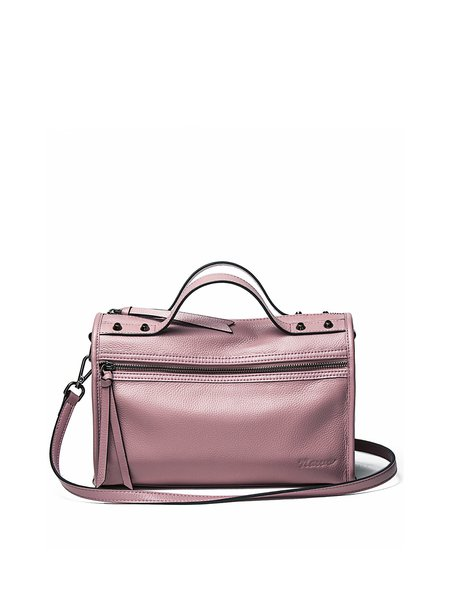 Pink Casual Zipper Cowhide Leather Satchel
