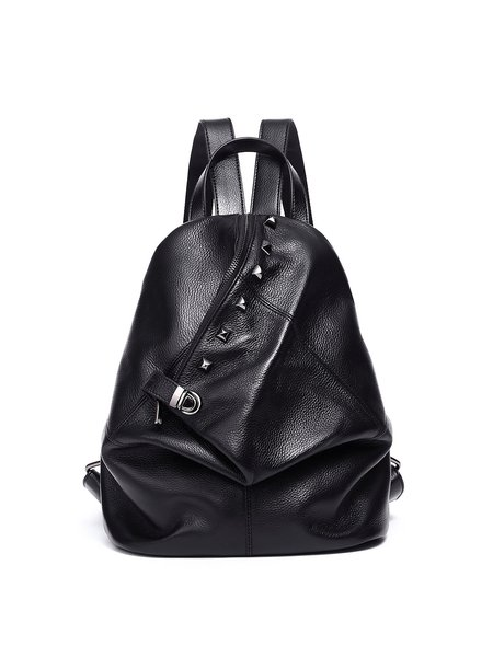 Black Statement Cowhide Leather Medium Backpack