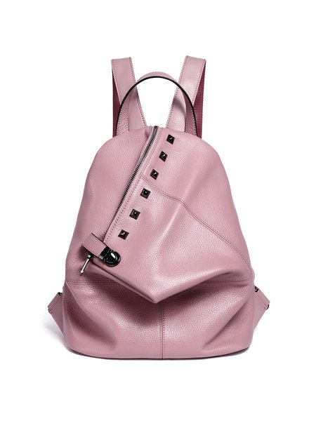 Pink Zipper Cowhide Leather Statement Backpack