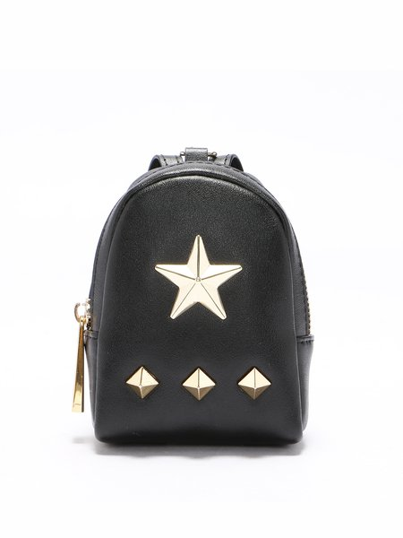 Black Cowhide Leather Zipper Statement Rivet Coin Case