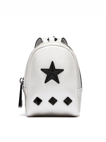 Silver Cowhide Leather Statement Rivet Zipper Coin Case