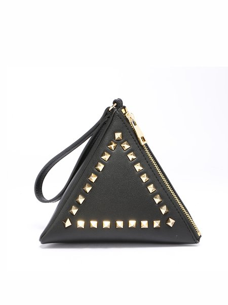 Black Cowhide Leather Statement Rivet Mini Coin Case