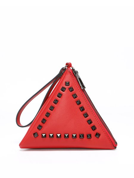 Red Statement Cowhide Leather Rivet Mini Coin Case