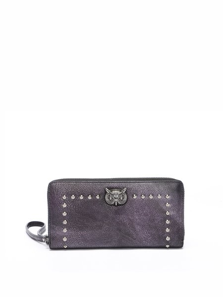Zipper Mini Cowhide Leather Rivet Wallet