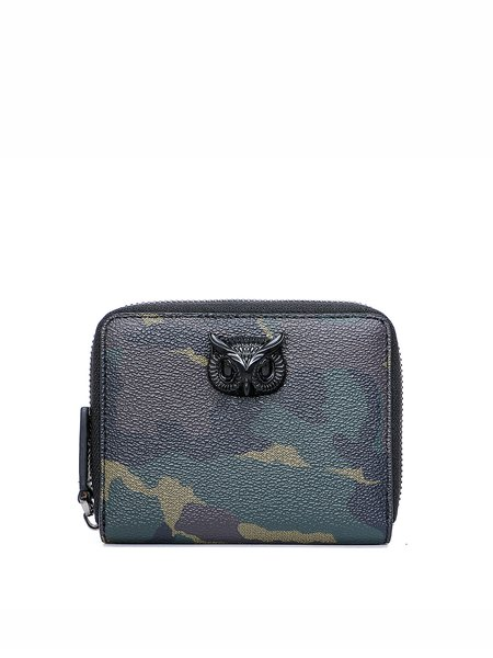 Dark Green Zipper Statement Wallet