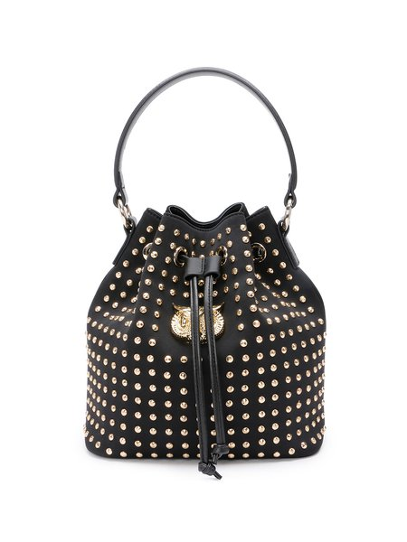 Black Faux Leather Street Drawstring Bucket Rivet Top Handle