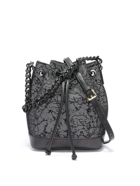 Black Lace Cowhide Leather Drawstring Bucket Shoulder Bag