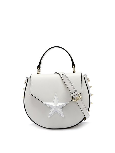 Small Rivet Cowhide Leather Magnetic Street Crossbody