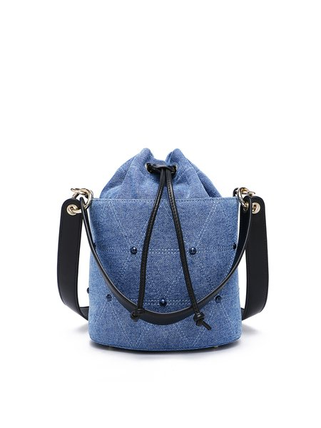 Blue Denim Canvas Drawstring Bucket Shoulder Bag