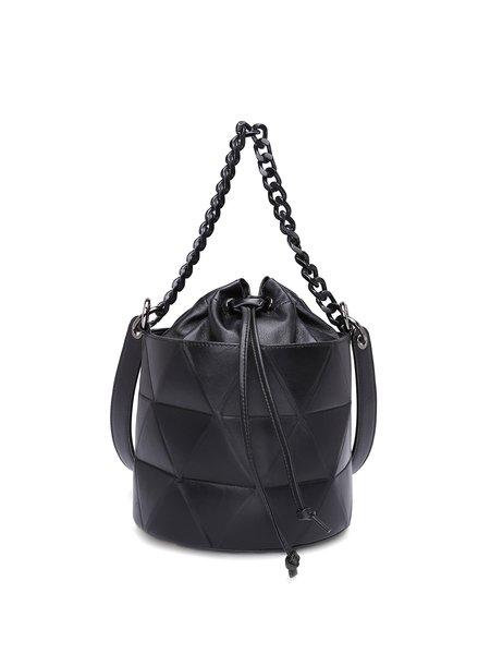 Black Statement Leather Small Drawstring Bucket Shoulder Bag