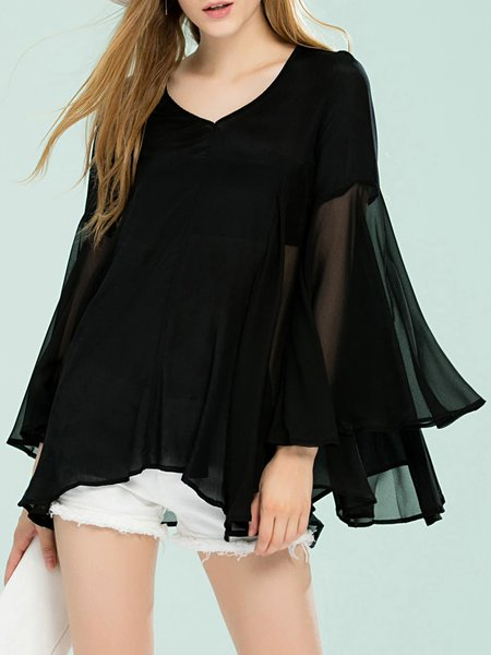 Black Silk Asymmetric Casual Blouse