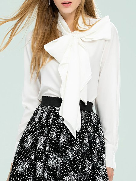 H-line Bow Sweet Long Sleeve Blouse