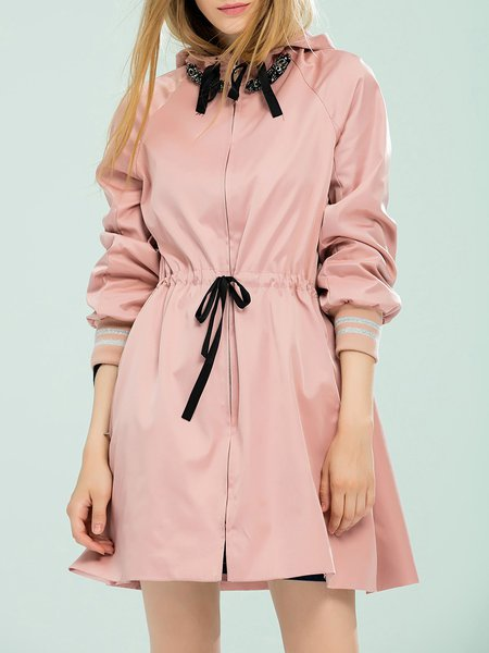 Pink Plain Stand Collar Long Sleeve Trench Coat
