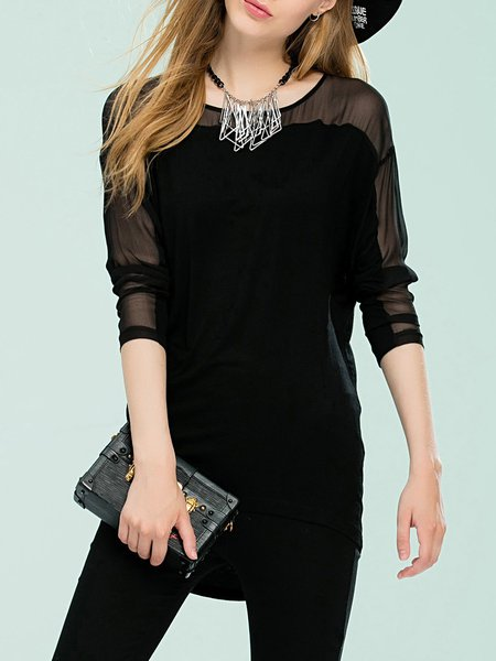 Black Paneled High Low Long Sleeve Tunic