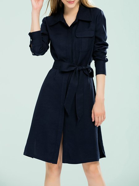 Navy Blue Plain Long Sleeve Shirt Collar Shirt Dress