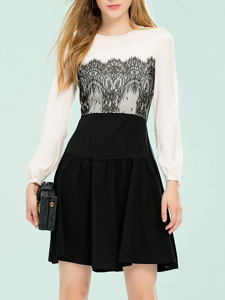 Black Crew Neck A-line Long Sleeve Color-block Mini Dress