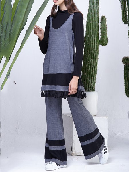 Gray Simple Turtleneck Cotton-blend Knitted Three Piece  Jumpsuit