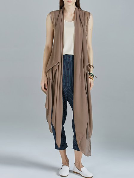 Coffee Casual Chiffon Asymmetrical Gilet