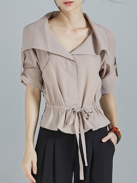 Khaki Paneled Half Sleeve Drawcord Chiffon Cropped Jacket