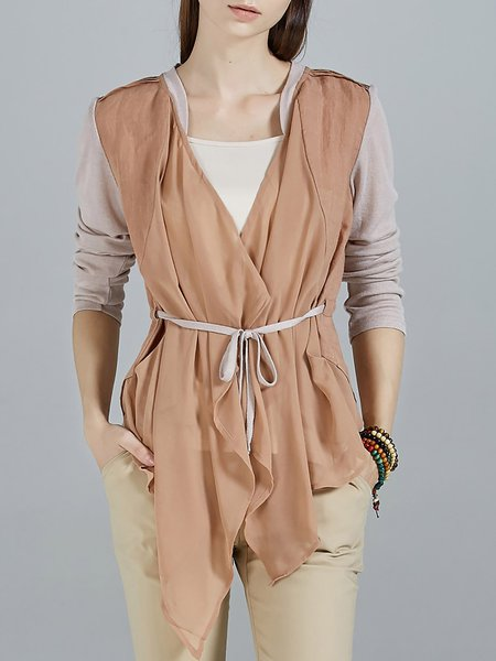 Apricot Color-block Asymmetrical Plain Half Sleeve Coat