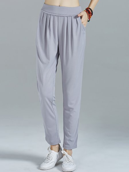 Light Gray Pockets Casual Knitted Track Pants