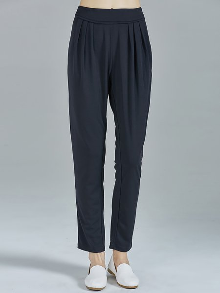 Dark Blue Knitted Pockets Casual Plain Track Pants