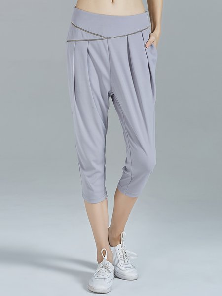 Light Gray Plain Folds Casual Knitted Cropped Pants