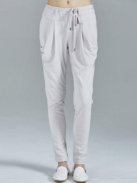 Light Gray Drawcord Casual Paneled Plain Knitted Track Pants