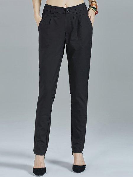 Black Simple Plain Pockets Work Straight Leg Pants