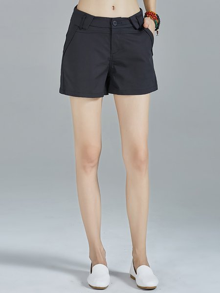 Black Pockets Plain Cotton-blend Simple Shorts
