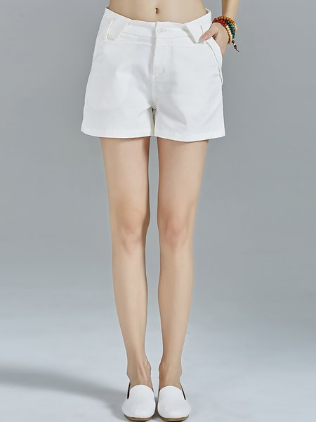 White Plain Cotton-blend Simple Pockets Shorts