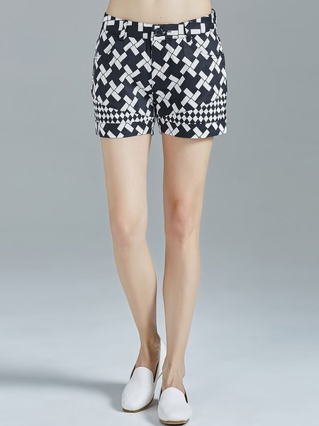 Black Printed Geometric Cotton Casual Shorts