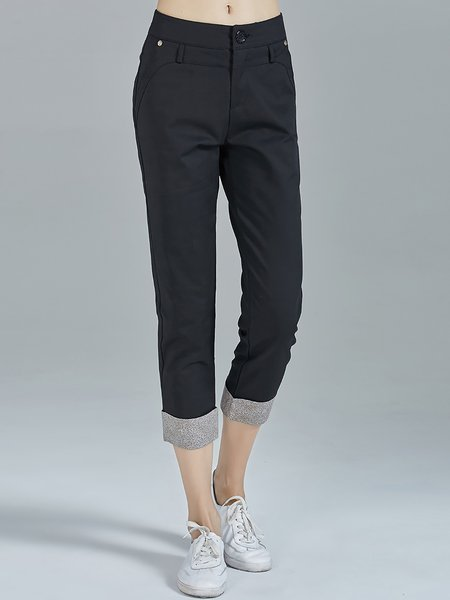 Black Color-block Casual Plain Cotton-blend Skinny Leg Pants