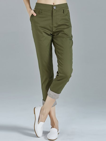 Green Plain Casual Cotton-blend Color-block Skinny Leg Pants