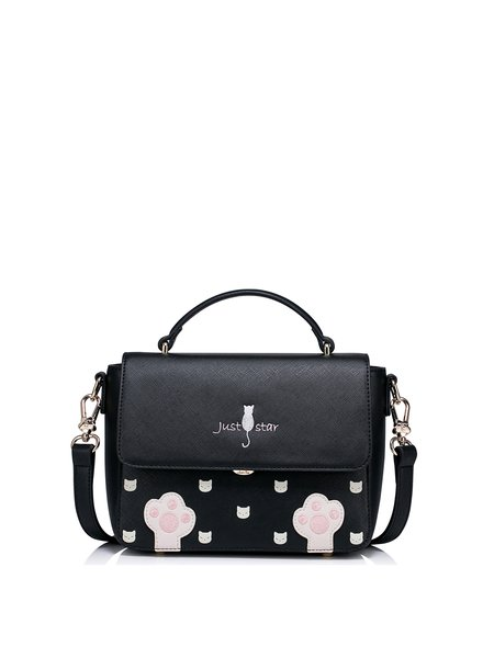Black Sweet Embroidered PU Crossbody Bag