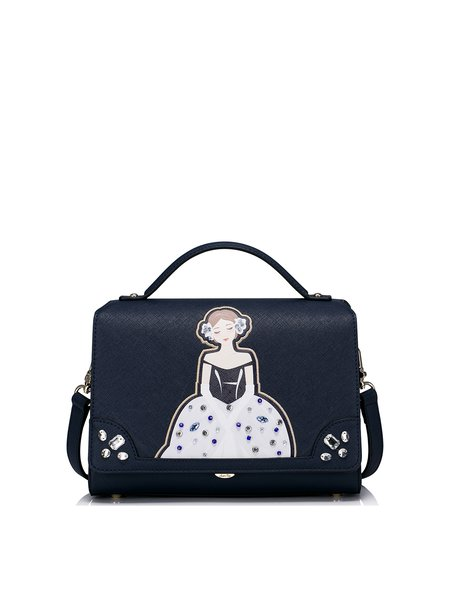 Navy Blue Printed PU Small Sweet Satchel