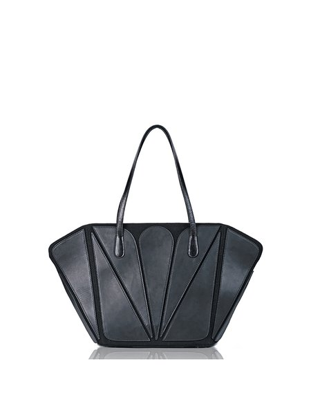 Black Snap Canvas Cowhide leather Statement Tote