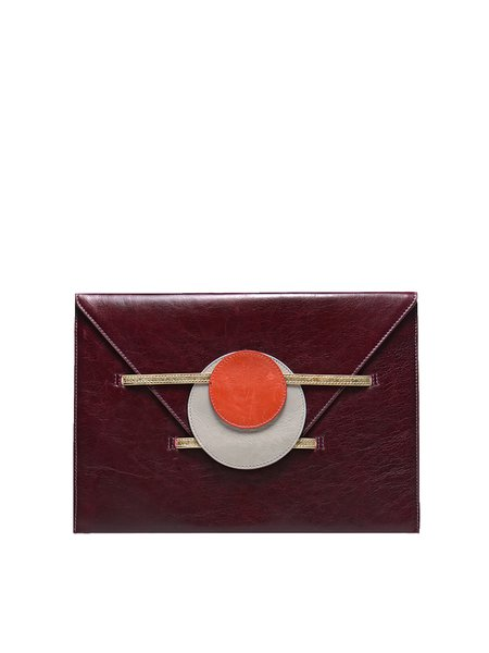 Wine Red Cowhide Leather Medium Clutch