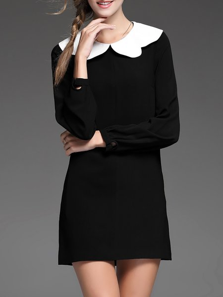 Black Color-block Plain Shift Long Sleeve Mini Dress