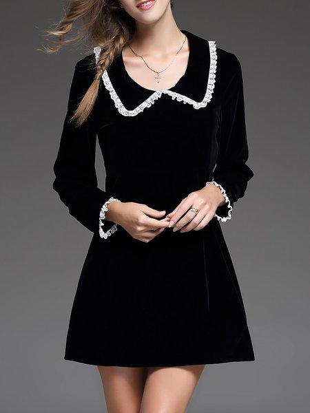 Black A-line Long Sleeve Velvet Mini Dress