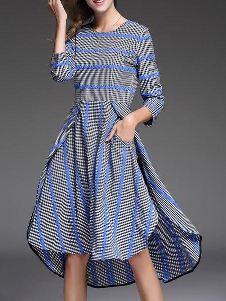 Blue Checkered/Plaid 3/4 Sleeve Stripes High Low Midi Dress