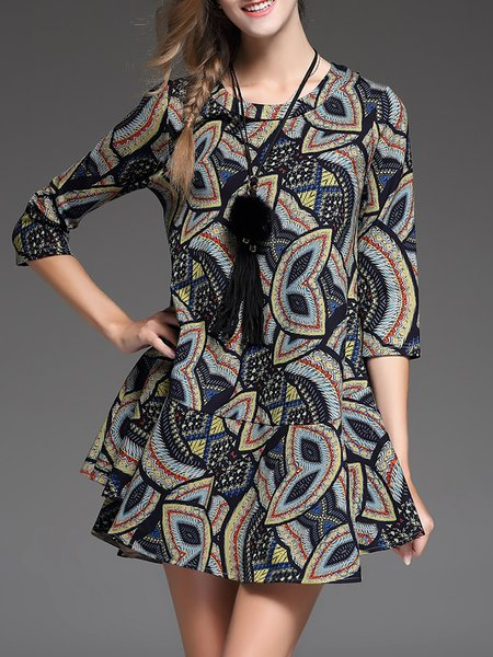 Multicolor Half Sleeve Abstract Printed A-line Mini Dress