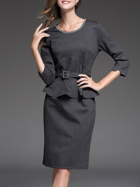 Gray Cotton-blend Beaded Sheath Slit Midi Dress With Belt