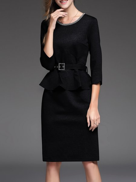 Black Beaded Plain Slit Elegant Sheath Midi Dress