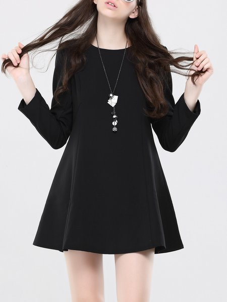 Black Crew Neck A-line Long Sleeve Plain Simple  Mini Dress