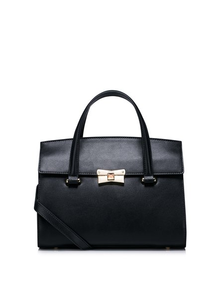 Black Push Lock Cowhide Leather Sweet Satchel
