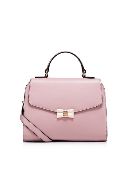 Pink Sweet Cowhide Leather Push Lock Satchel