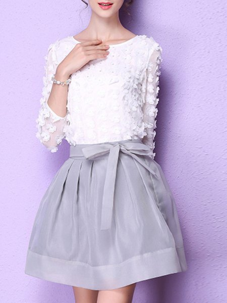 3/4 Sleeve Organza Appliqued Floral Two Piece Mini Dress